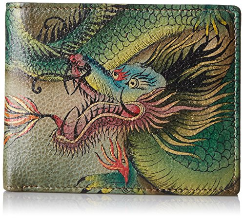 Anuschka Hand Painted Leather RFID Blocking Two Fold Men's Wallet | Hidden Dragon