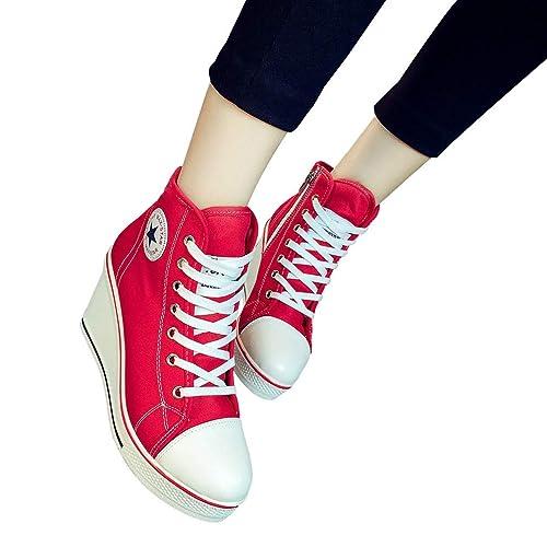 Zapatillas de Cuña Mujeres, Moda Cordones y Cremallera Zapatos de Lona Mujer Cuñas Altas Tacón Zapatillas Zapatos de Plataforma Zapatillas de Deporte Seis ...