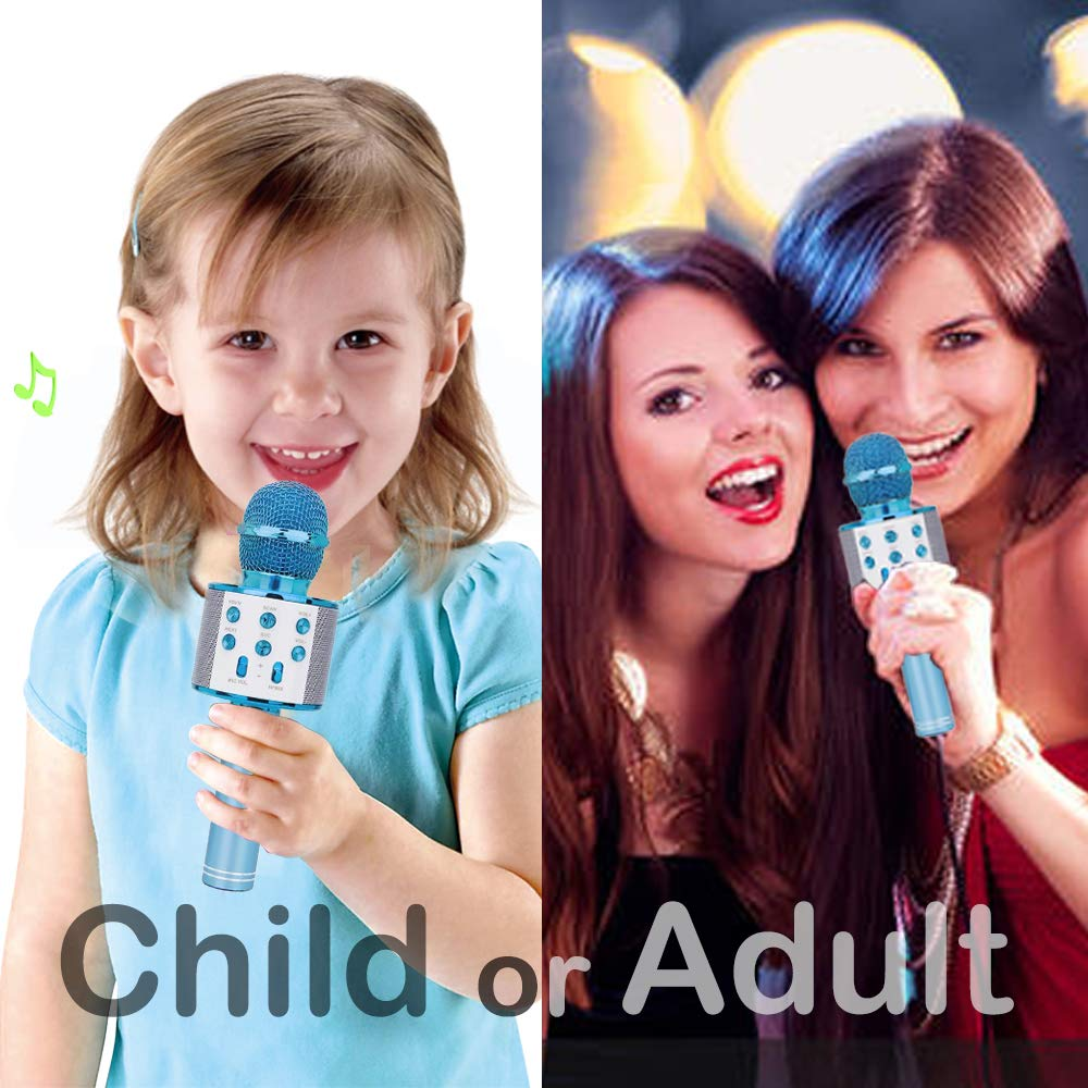 Gift for 6-10 Year Old Girl, Wireless Bluetooth Microphone for Kids Girls Party Toy for 4-7 Year Old Girl Boys Karaoke Microphone Toy Age 6 7 8 Girls Birthday Gift for Girl Blue Mic by Moff (Image #4)