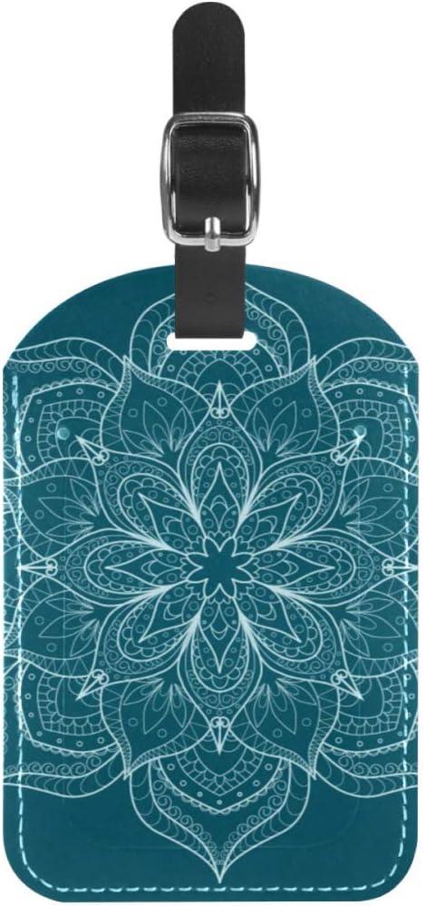 Etiquetas de Equipaje Etiquetas de Maleta de Viaje de Cuero con Estampado de Flores Blancas 1 Paquetes