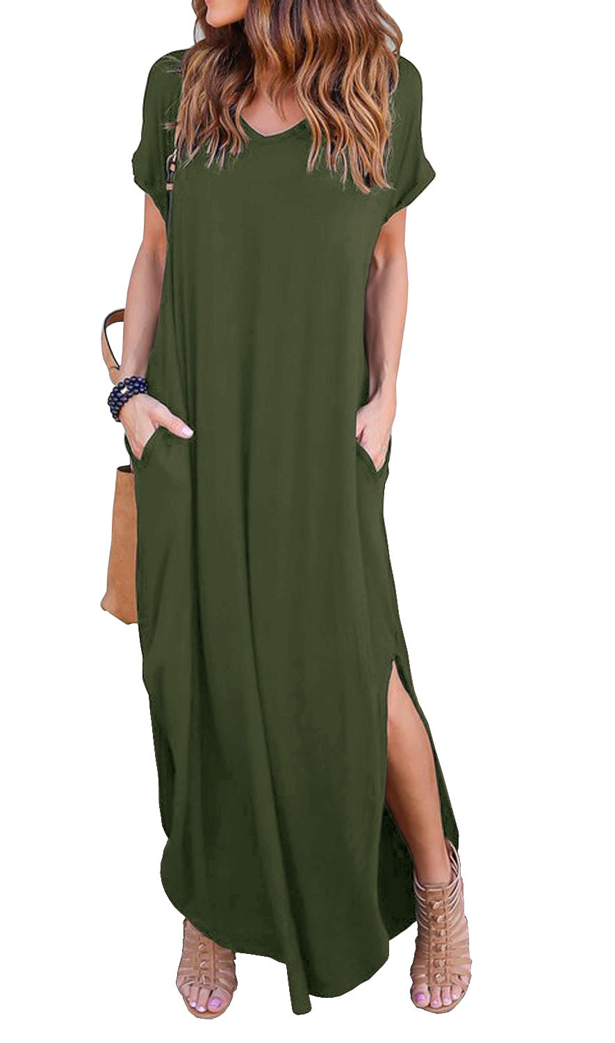 GRECERELLE Womens Casual V Neck Side Split Beach Dresses Long Maxi Dress Army Green 2XL