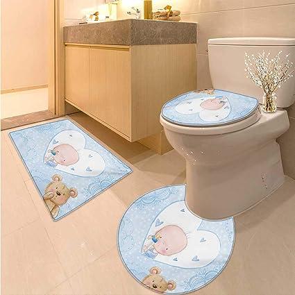 Amazon.com: Anhuthree Gender Reveal Toilet Carpet Floor mat Set ...
