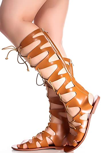 a1229ba1474 Forever Link Faux Leather Lace up Back Zipper Open Toe Knee HIGH Sandals 55  tan
