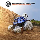 Sharper Image Remote Control Car RC Cars Toys for Boys and Girls, Thunder Tumbler Race Monster Truck, Best Kids Gifts Spinning 360 Multi-Player, Power Racing Flips and Stunts w/ 5th Wheel, 27MHz BLUE