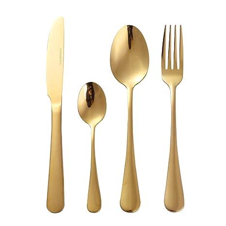 Free bily 4 pieza de cubertería de lujo Set Vajilla Carne Tenedor Cuchillo cucharas té (