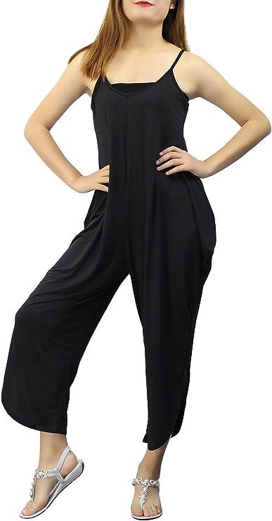 Landove Pagliaccetti Donna Estate Baggy Strappy Tuta Harem Pantaloni Elegante Jumpsuit Scollo V Salopette Lunga Ragazza Monopezzo Tutine Clubwear