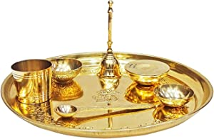 Peegli Brass Pooja Thali Set 7 Pieces Indian Occasional Gift Puja Thali 9.5 Inch Traditional Handcrafted Thali Set for Pooja Arti