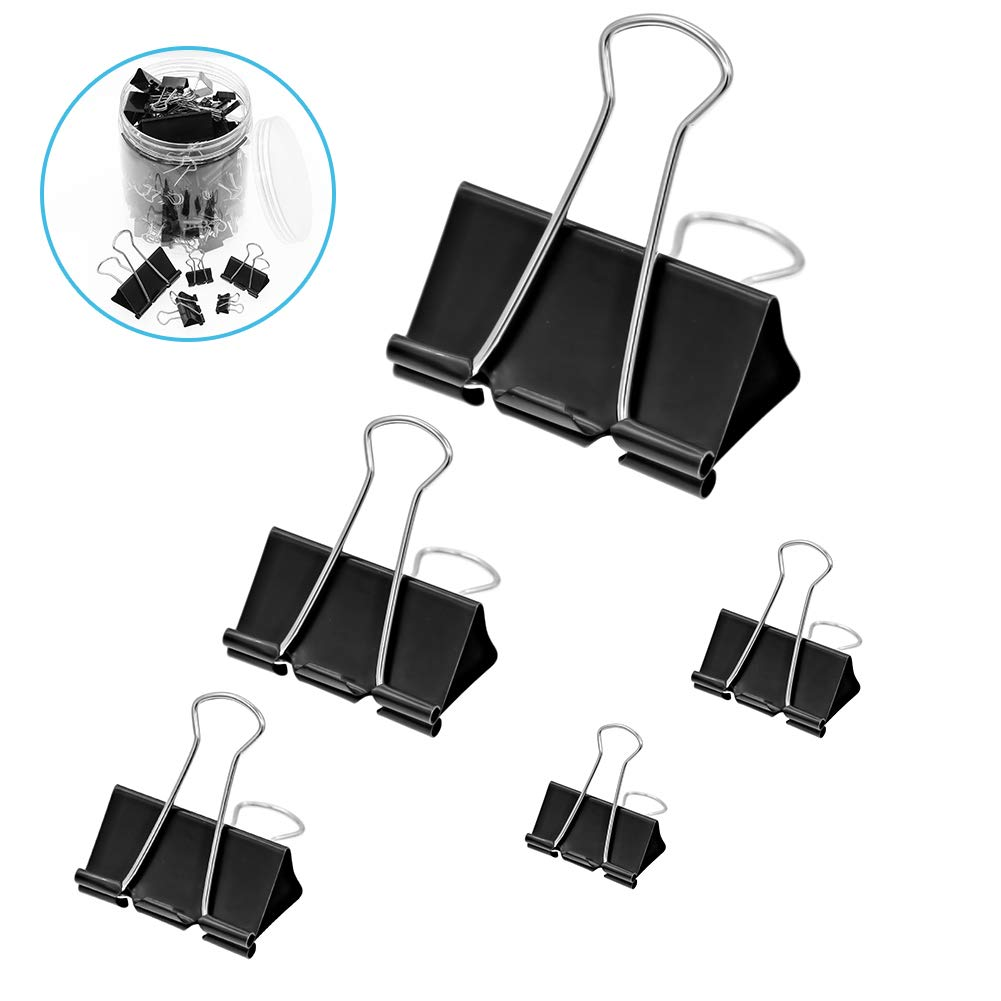 Assorted Size Binder Clips, Coideal 120 Pack 5 Sizes Metal Black Paper Clip Clamps for Home Office Useage (Large, Medium & Small)