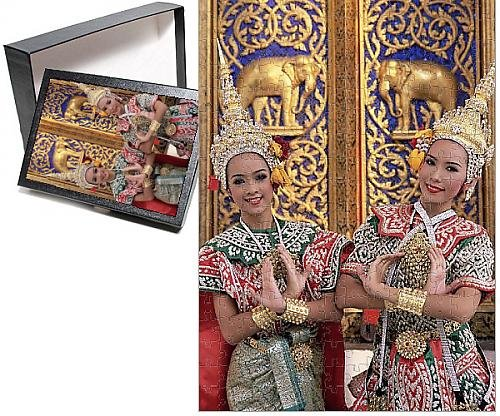 Traditional Thai Costumes Dance (Photo Jigsaw Puzzle of Portrait of two dancers in traditional Thai classical dance)