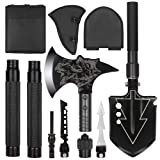 LIANTRAL Folding Military Shovel Camping Axe Portable Survival Kits with Sheath for Backpacking, Entrenching Tool, Car Emergency (Color: Black)