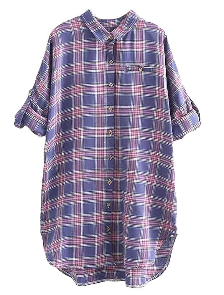 Mallimoda - Camisas - Túnica - Cuadros - Clásico - para Mujer Morado L: Amazon.es: Ropa y accesorios