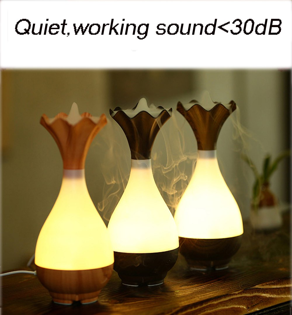 Essential Oil Diffuser Mini Humidifier - Azmall Humidifier Vase Shaped Ultrasonic Humidifier Wood Grain Air Purifier Aroma Essential Oil Atomizer Warm White Led Light Mist Maker DARK WOOD by Azmall (Image #2)