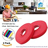 15ft Cable Tie, Mekov, Cuttable & Reusable Nylon Fastening Cable Ties 15mm Width Cord Wire Organizer for Home Office Tablet PC TV Wire Management (2 Roll, Total: 30ft, Red)