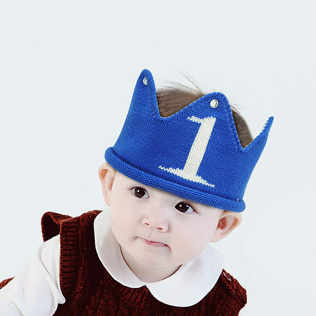 Amazon.com  Lujuny Knit 1st Birthday Hat - Happy Baby Crown Headband Cap  for Party Costume Photoshoot (Blue)  Clothing fab2aeee68f0
