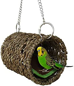 NUOHAN Woven Straw Bird Tunnel - Seagrass Bird Tent Snuggle Toy Natural Hanging Hammock Swing Nest for Parrot Cockatiel Parakeet African Grey Cockatoo Macaw Amazon Lovebird Finch Hamster
