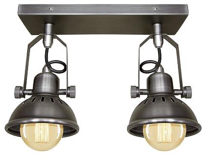 Beautiful Industrial Vintage Twin Ceiling Light Fixture Dark Grey Pewter Finish  Brooklyn Style Adjustable Swivel Spot Lights Images