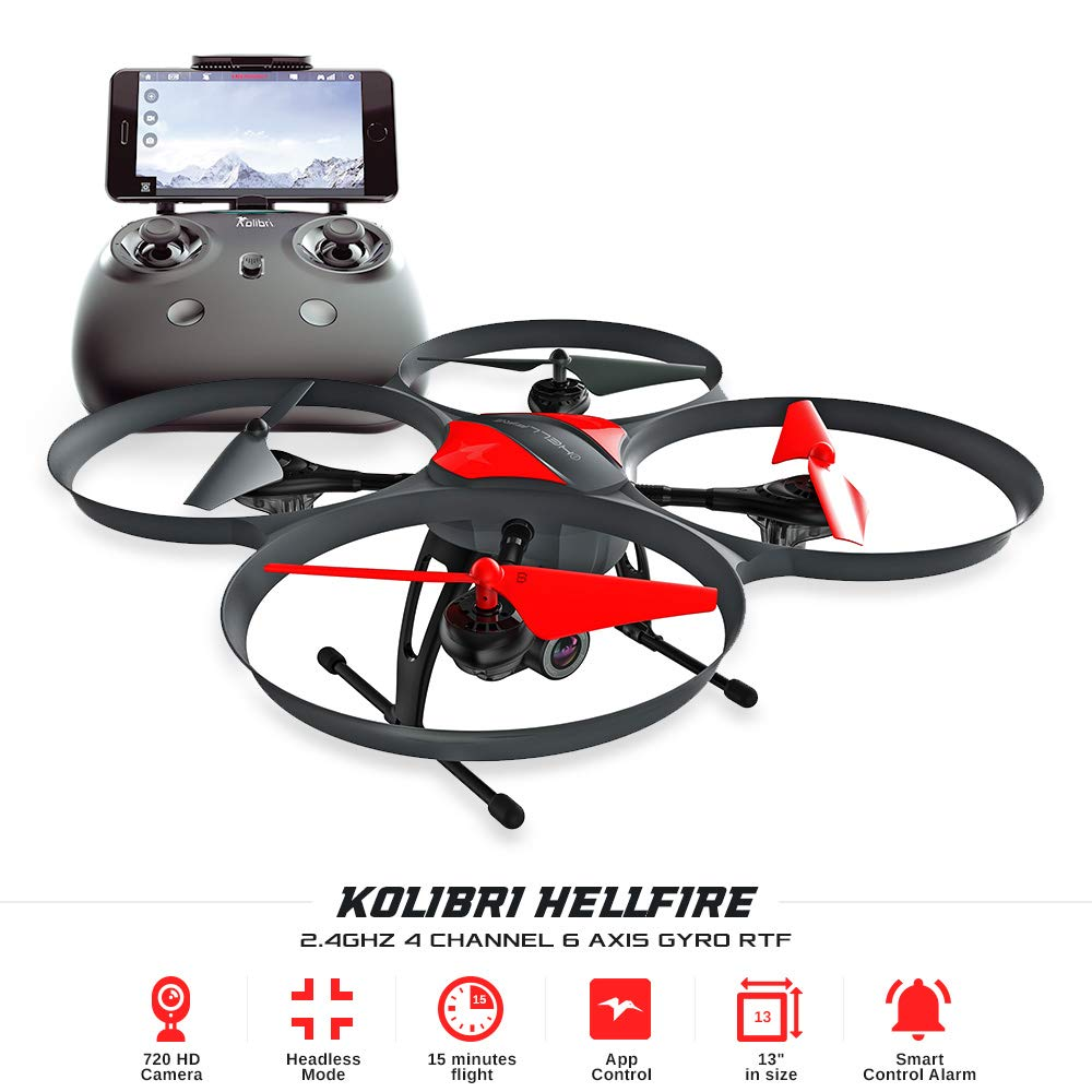 Kolibri Hellfire – Best Quadcopter Drone Wide-Angle Camera with Live Video Feed FPV 720P HD Headless Mode 2.4GHz 4 Channel 6 Axis Gyro RTF with Altitude Hold Function, Great for Beginners.