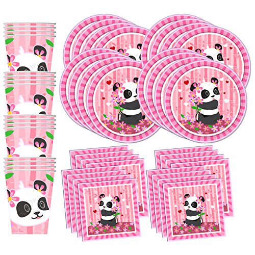 Pink Panda Birthday Party Supplies Set Plates Napkins Cups Tableware Kit for 16 by Birthday Galore