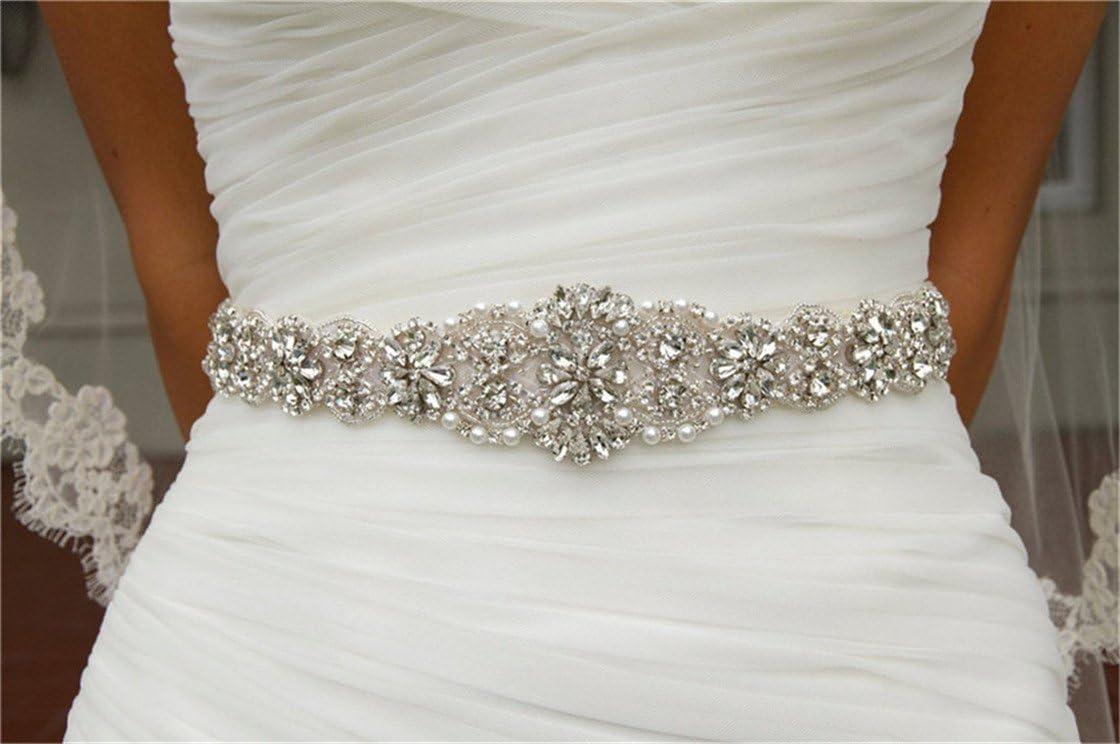 San Bodhi® Crystal sashes for wedding, Wedding Bridal Belt, Braided Rhinestone Sash