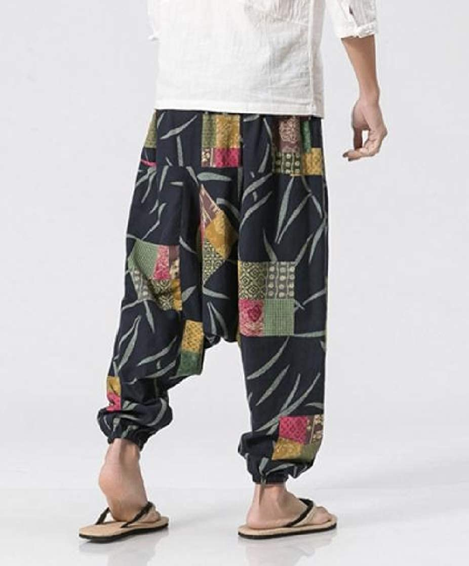 YUNY Men Linen Casual Wide Legs Ethnic Style Printing Comfy Casual Pants AS2 XS
