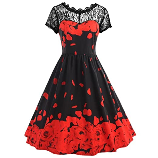 ec5ac884d65 Womens Flowers Printing Dress Lace Short Sleeve Vintage Party Ball Prom  Maxi Gown Zulmaliu (Red