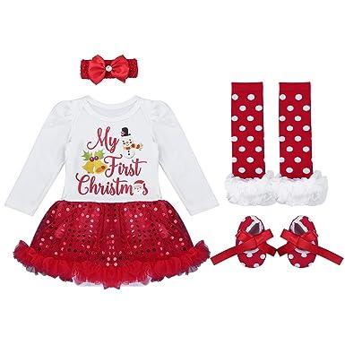 3a9f1f7f6bcc7 Alvivi Bébés Filles Mon 1er Noël Costume Robe de fête Tutu Outfit Ensemble  4PCS Déguisement Noël