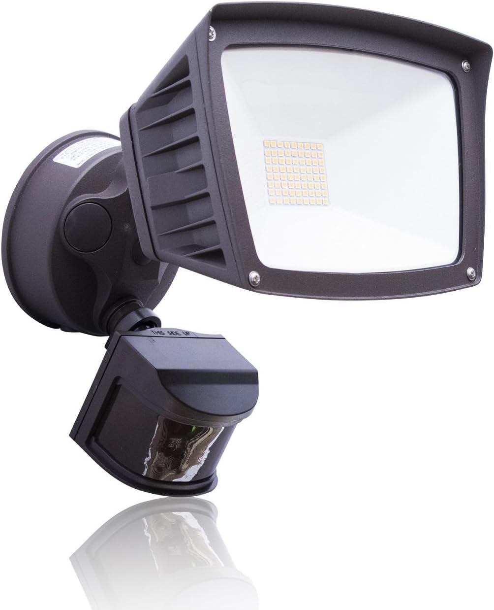 4,800 Lumens – LED Wall Flood Light with Motion Sensor – Bronze – 5000K Bright White – LED Wall Lights – ETL DLC Listed – Wall Light LED – Wide Angle floodlight