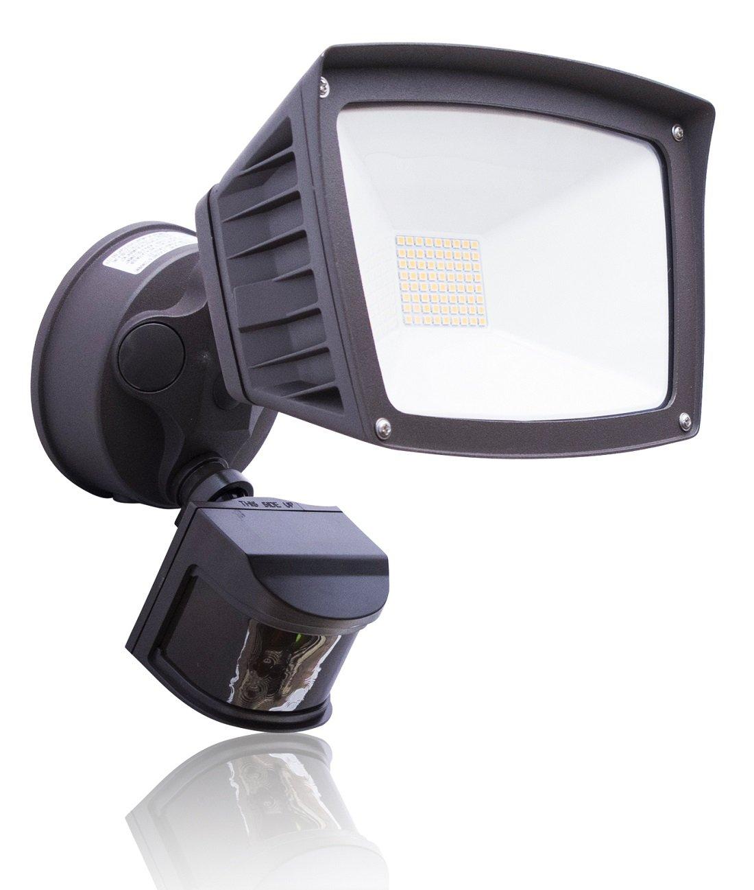 4,800 Lumens - LED Wall Flood Light with Motion Sensor - Bronze - 3000K - LED Wall Lights - ETL & DLC Listed - Wall Light LED - Wide angle floodlight