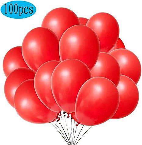 Imagen deQYY Globos Rojo,Globos de látex de 12 Pulgadas para Helio,Globos para Bodas Aniversario San Valentin, Cumpleaños Fiesta Graduacion Decoracion