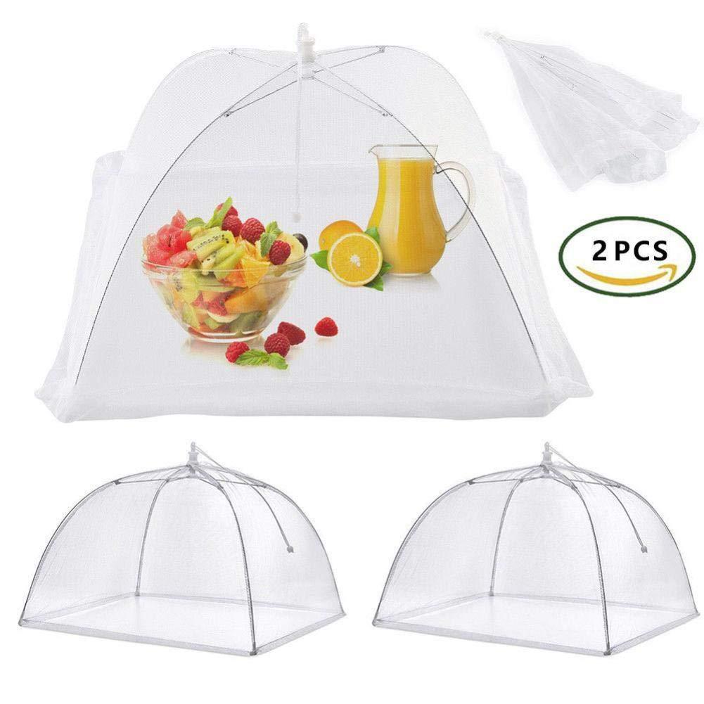 Ankamal Elec Große zusammenklappbare Mesh Essen Abdeckung Dome Pop Up Plate Regenschirm Fly Wasp Net, 2er Set Festal Color