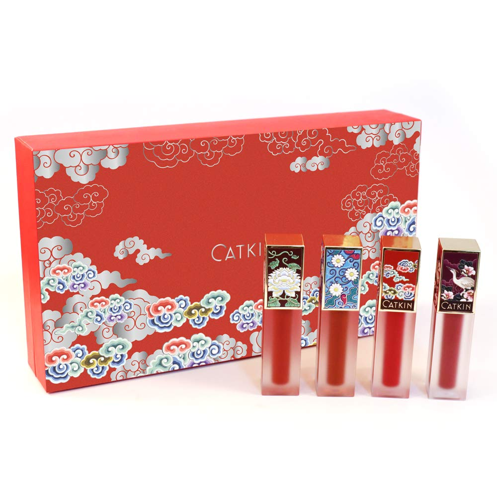 CATKIN Liquid Lipstick Set,Matte Lip Gloss Velvety Silky Smooth Natural Waterproof Long Lasting Non-Stick Cup Moisturizer Makeup 4 Colors Gift Box