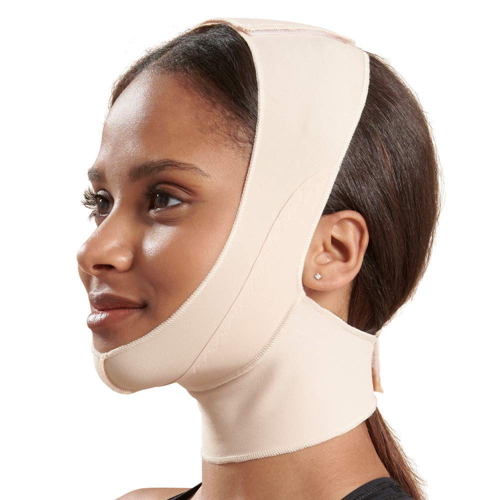 Marena Unisex Recovery Compression Chin Strap with Mid-Neck Coverage for Post-Op Mask