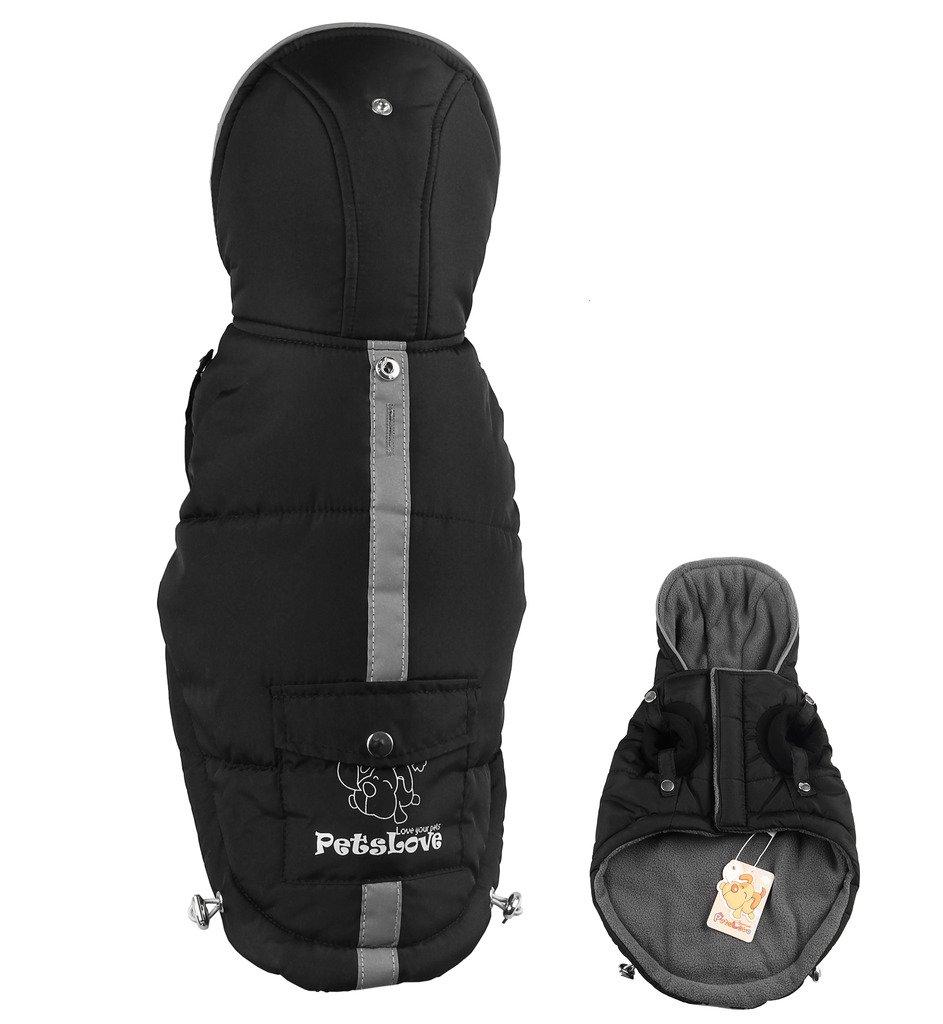 Black XL (back 18 Black XL (back 18 Pets  Doggie Thickening Jacket Coat Pet Clothes Dog Warm Clothes for Winter Black XL