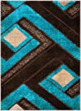 """Royal Collection Turquoise Blue Brown Contemporary Geometric Abstract Design Shaggy Area Rug (6016) (Blue, 3'3″x4'11"""") For Sale"""