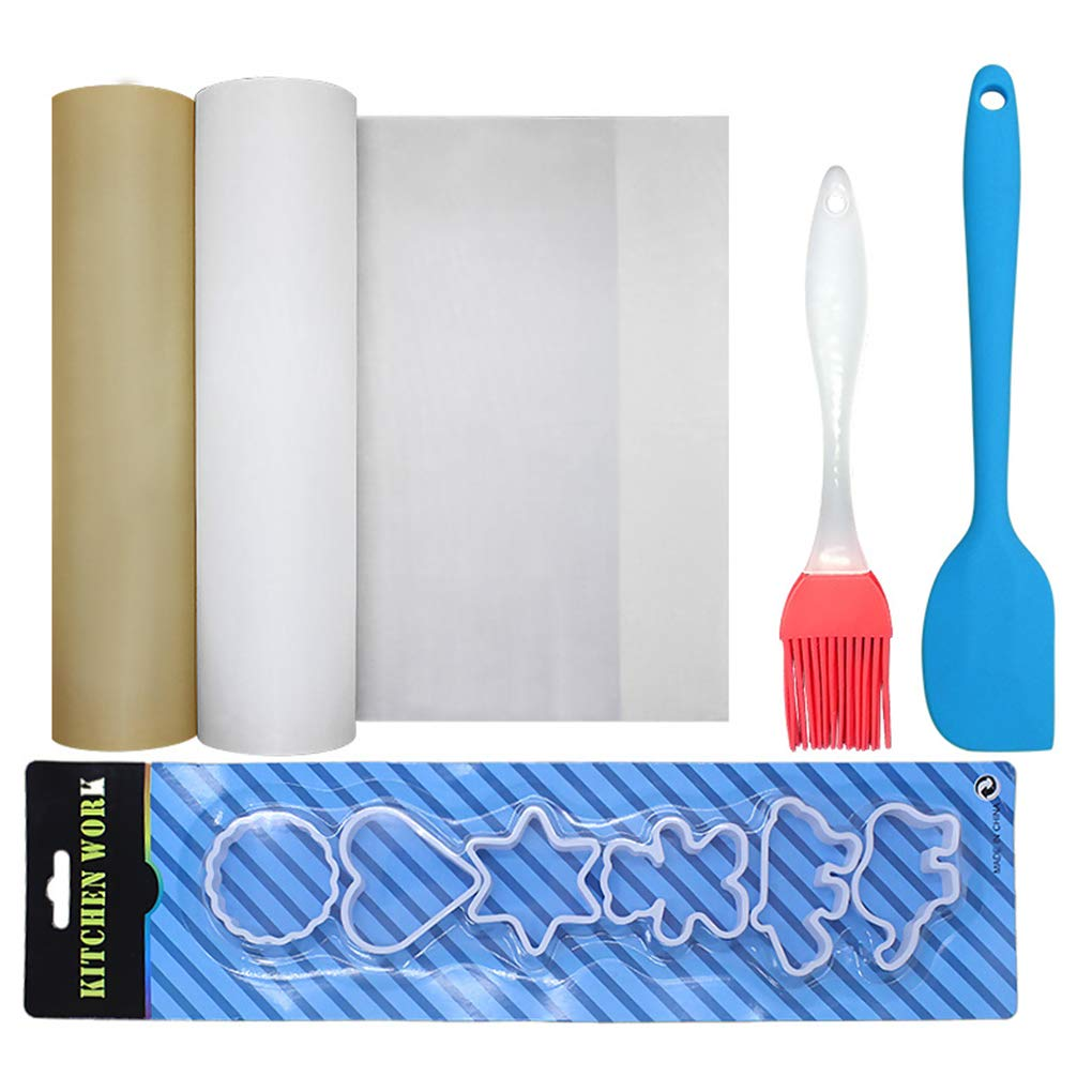 Riverlily BBQ Grill Mats Barbecue Pad Oil Brush Silicone Scraper Set Reusable Non Stick Hot Plate Mat Baking Microwave Oven Accessories