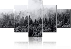 """TUMOVO Large 5 Panel Foggy Forest Canvas Wall Art Black and White Landscape Pictures Modern Canvas Artwork Misty Woods Contemporary Nature Canvas Art for Home Office Wall Decor - 60"""" W x 32"""" H"""