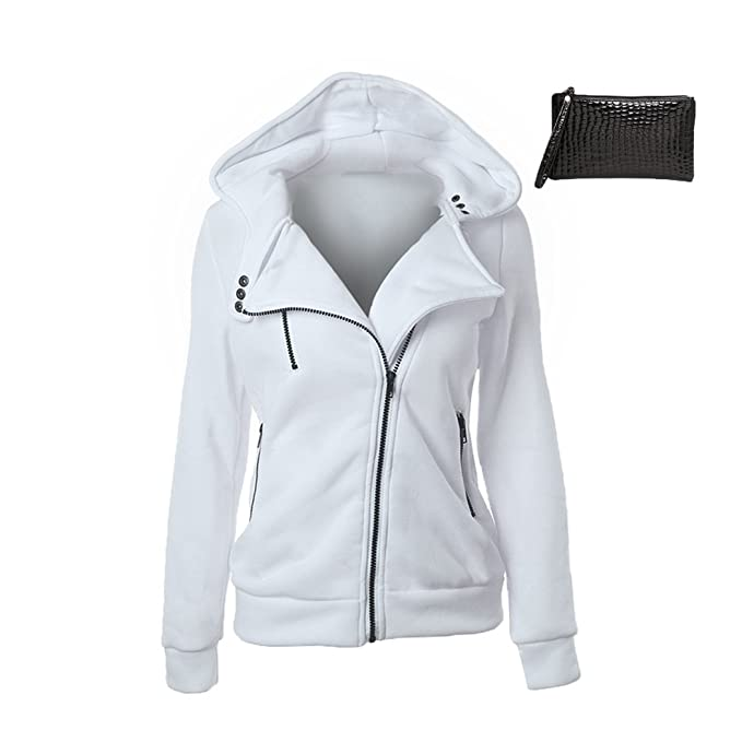 info for 19c61 609cc MTTROLI Casual Design Women Hoodies Zipper Hooded Sweatshirt Hoodies  Overcoat Tops Blouses Plus Size XXL (M, White)  Amazon.co.uk  Clothing