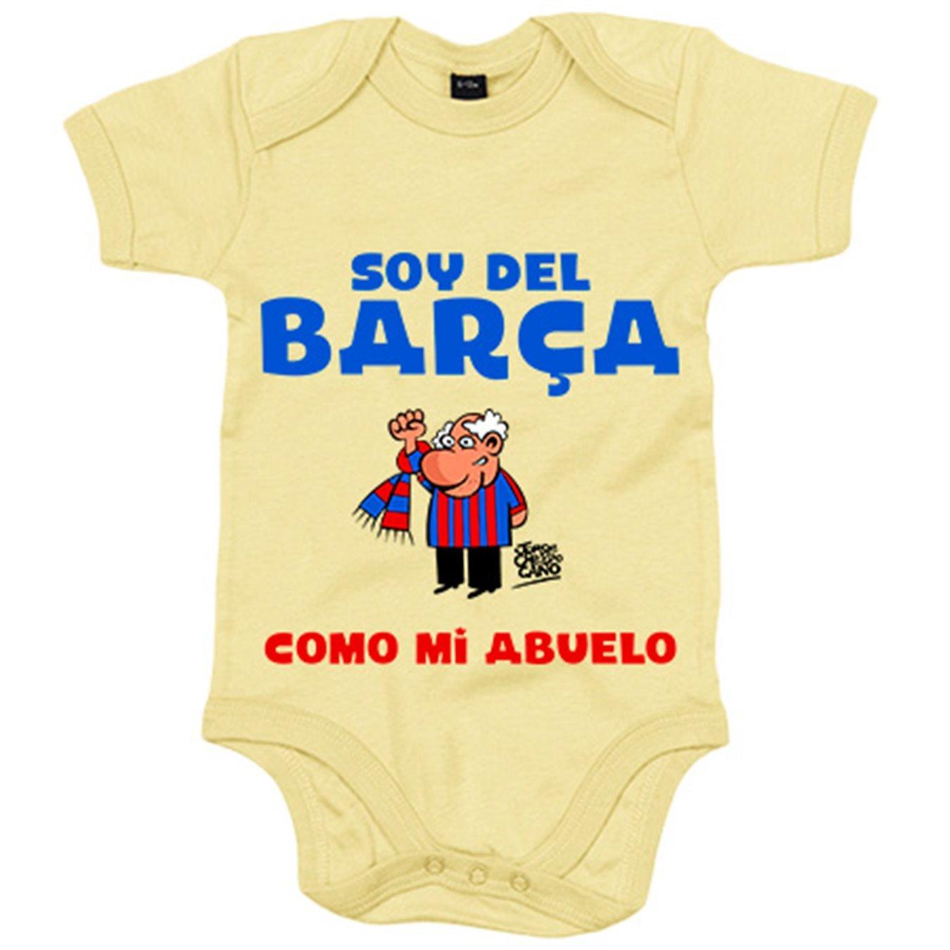 Amarillo Body beb/é soy del Bar/ça como mi abuelo 6-12 meses