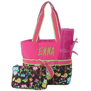 Amazon.com: Personalizado Bolsa de Pañales búho Hot Pink ...