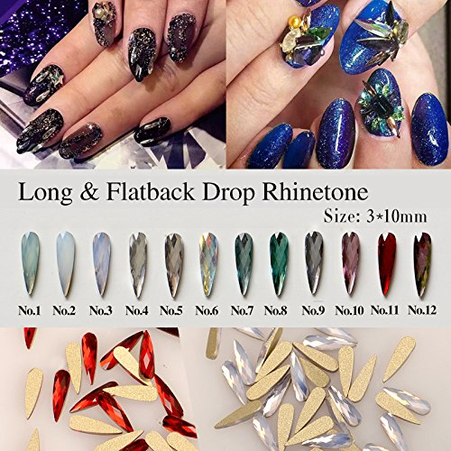 Mixed Color 100pcs Nail Art Long & Flat Back Dorp Rhinestone Crystal Decoration Alloy Rhinestones DIY Nails Art Cosmetic