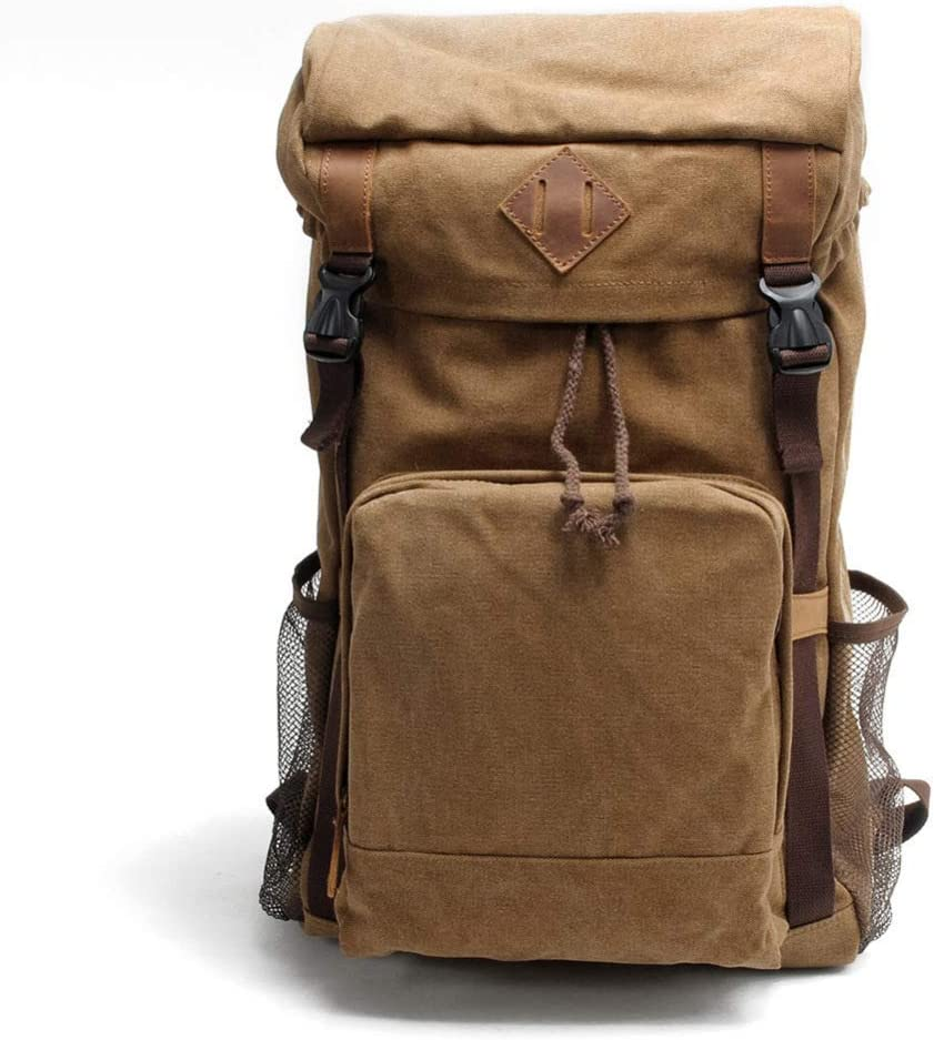 ZHJWHWABBAO Outdoor Mountaineering Bag Mens Backpack Large Capacity Backpack Retro Canvas Multi-Function Casual Bag 52 31 15cm Multi-Color Optional Design : B