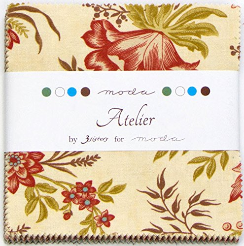 Moda 3 Sisters Atelier Charm Pack, Set of 42 5x5-inch (12.7x12.7cm) Precut Cotton Fabric Squares ()