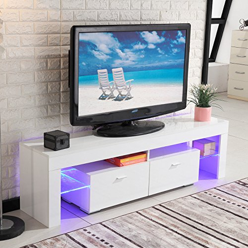 Best Direct Deals TV Stand High Gloss White Cabinet Console Furniture w/LED Shelves 2 Drawers