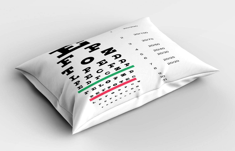 ABAKUHAUS Tabla de Vision Ocular Funda de Almohada, Grandes y pequeñas Letras, Decorativa Estampada Tamaño Standard King Size, 90 X 50 cm, Gris pálido Gris carbón