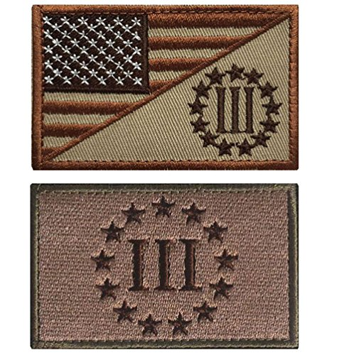 QTao UPA188 Hook & Loop Velcro USA American Flag w/ Three Percenter Military Tactical Morale Patch 2pcs (Color (Baby Paramedic Costume)