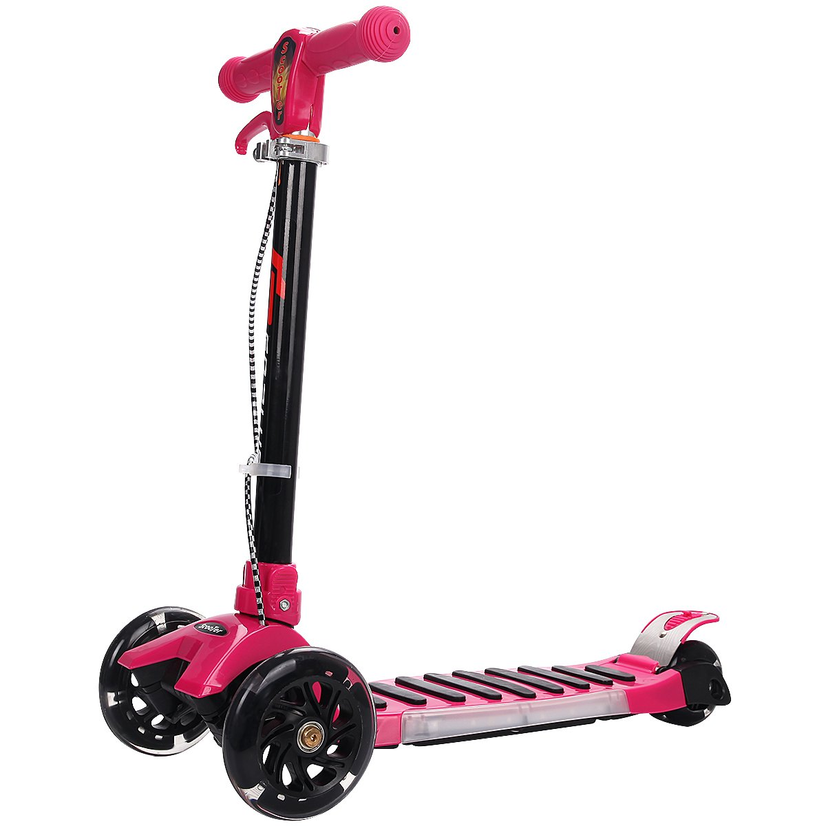 vengaconmigo Patinete Plegable Scooter con Freno de Mano Altura Ajustable 3 Ruedas Luminosas para Ni/ños de 2-9 A/ños Carga M/áxima 50KG Fucsia