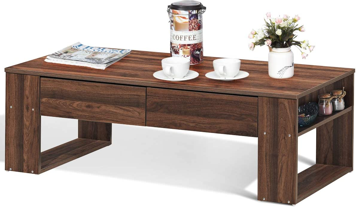 Giantex Coffee Table with Storage Drawers and Two Side Shelves, Concise Modern Style Home Office Furniture, Suitable for Living Room, Rest Room and Office Tea Table Walnut