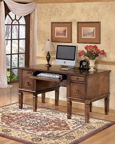 Ashley Furniture Signature Design - Hamlyn Large Home Office Desk - Drop-Down Keyboard Tray - 2 Drawers/1 File Drawer - Traditional - Medium Brown Finish (Antique Executive Desk)