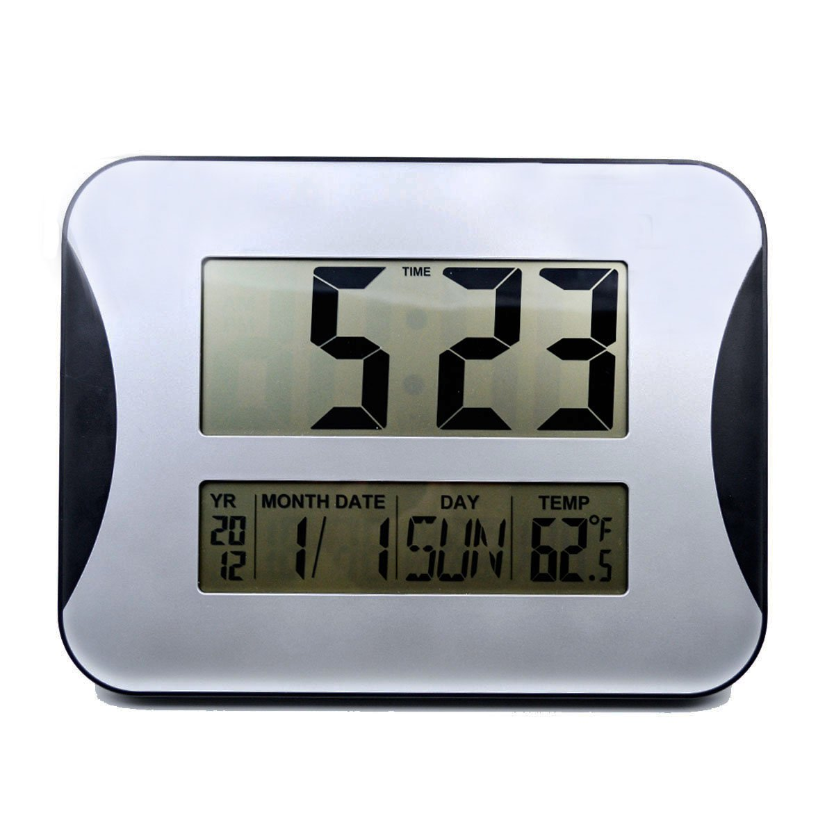 Hippih large lcd digital wall clocks electronic alarm clocks big hippih large lcd digital wall clocks electronic alarm clocks big digits time calendar temperature display wall mountable bedside desk clock for room office amipublicfo Gallery