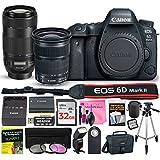 Canon EOS 6D Mark II Digital SLR Camera (Wi-Fi) ESSENTIAL Multi-Lens STARTER Kit with Camera Body, EF 24-105mm f/3.5-5.6 IS STM Lens, EF 70-300mm f/4-5.6 IS II USM Lens & Camera Works Accessory Bundle
